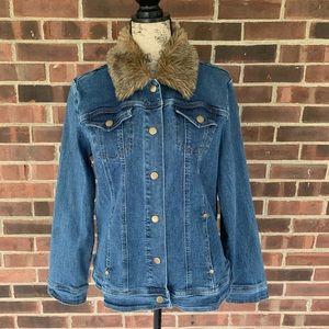 Live a Little Jean jacket faux fur collar